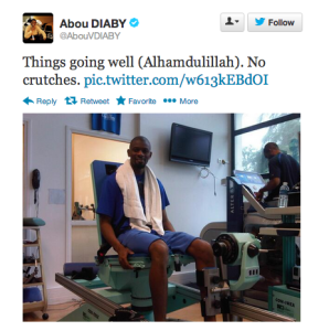 diaby off crutches